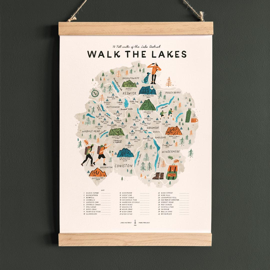Walk the Lakes, illustrated map checklist of 30 fell walks, with wooden hanging frame (A3 size)