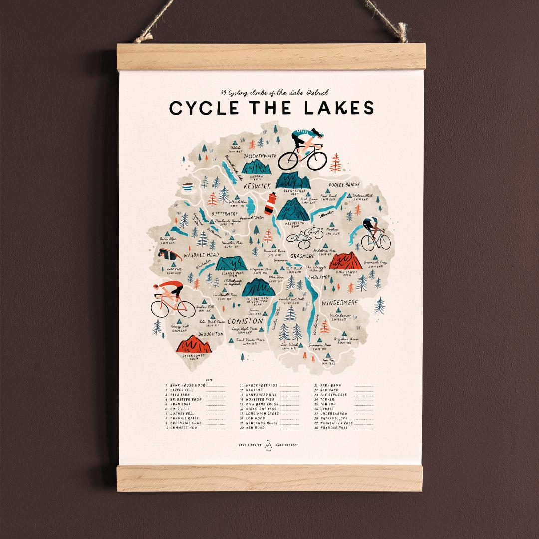 Cycle the Lake District, illustrated map of 30 cycling climbs  checklist with wooden hanging frame (A3 size)