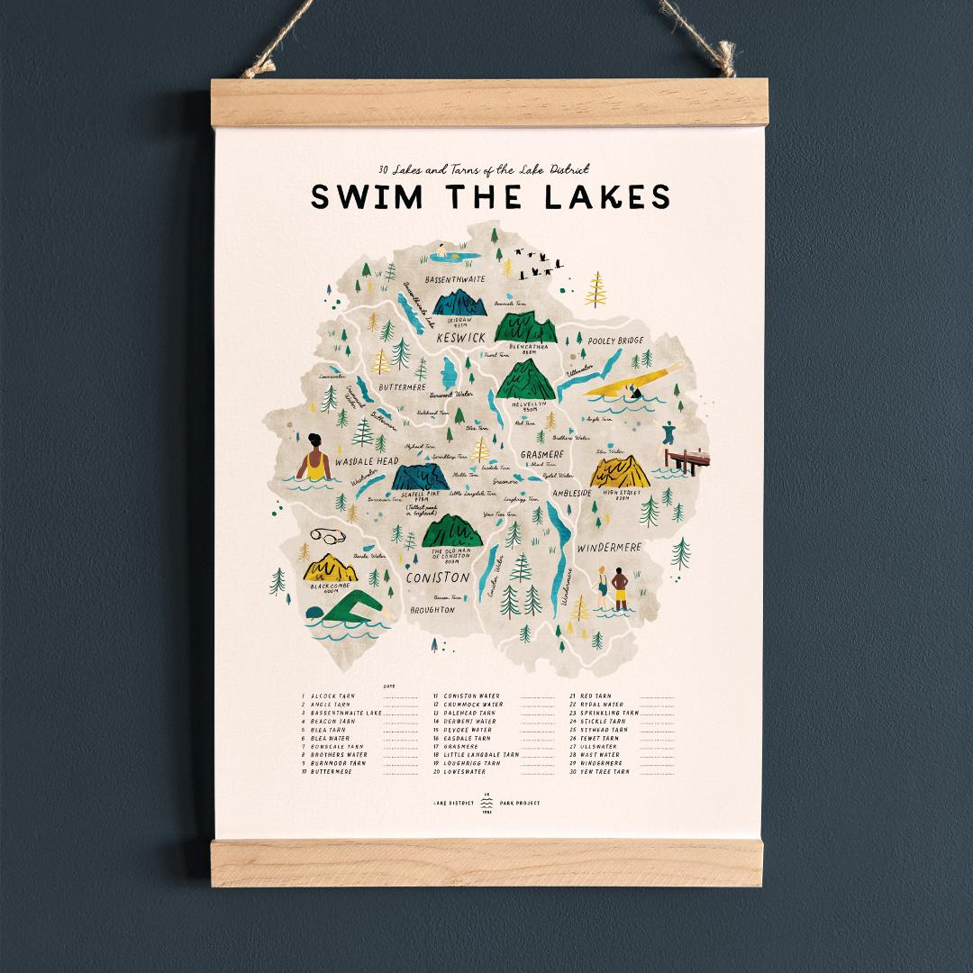 Swim the Lake District, illustrated map checklist of 30 lakes & tarns with wooden hanging frame (A3 size)