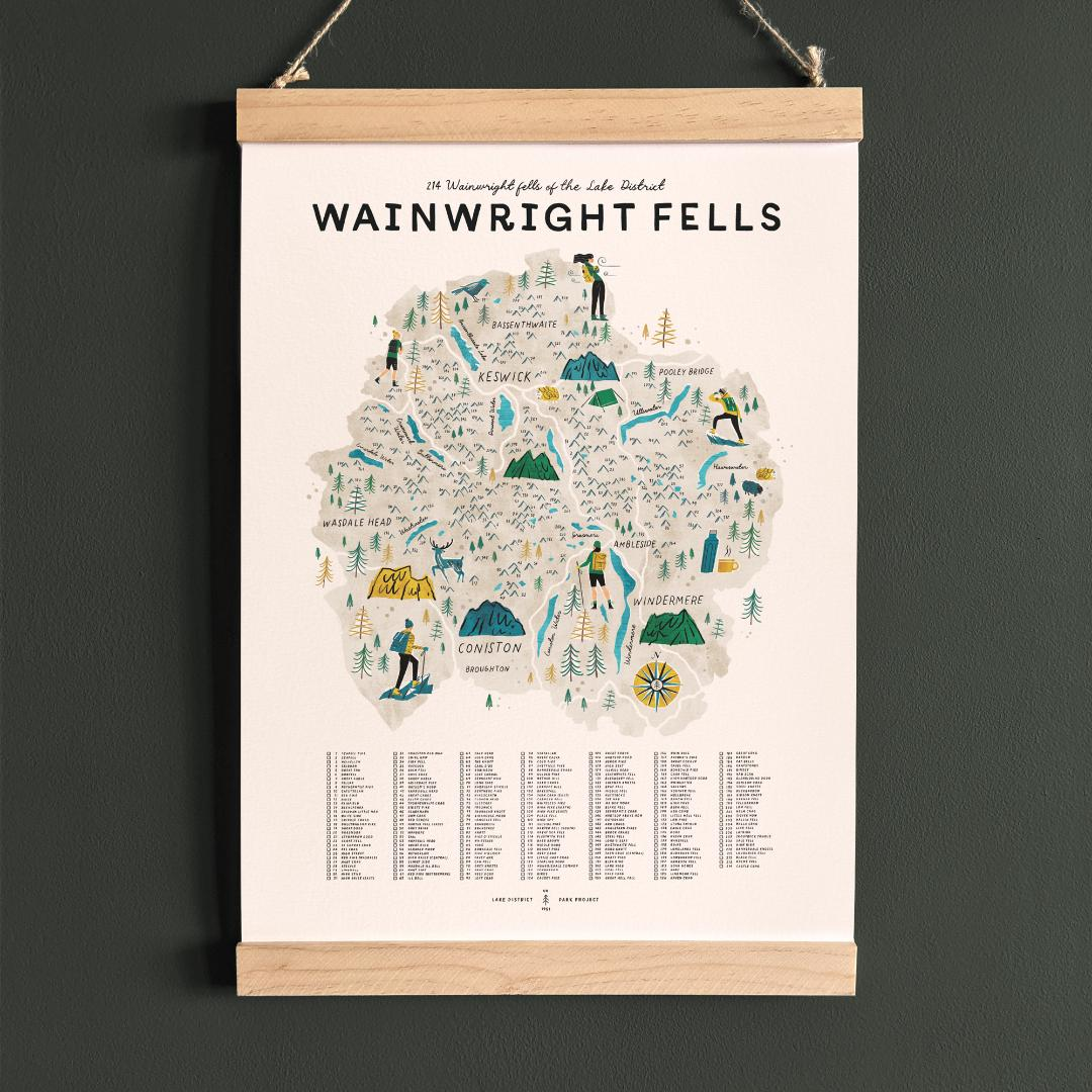 Wainwright Fells of the Lake District, illustrated map checklist with wooden hanging frame (A3 size)