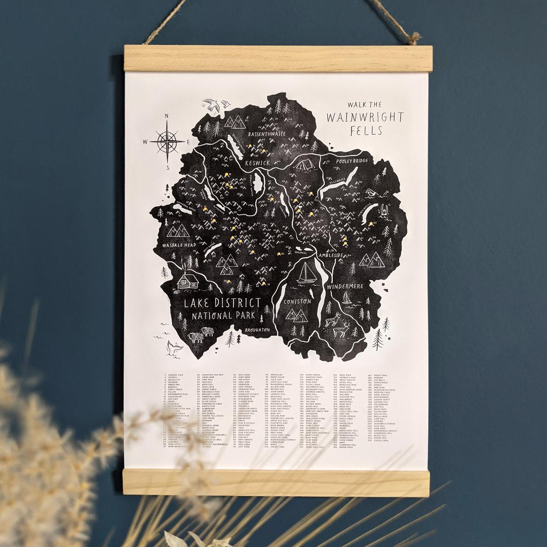 Walk the 214 Wainwright Fells Illustrated map checklist with Wooden Hanging Frame A3