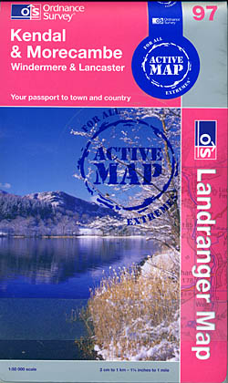 Active Landranger Map 97: Kendal and Morecambe, Windermere and Lancaster